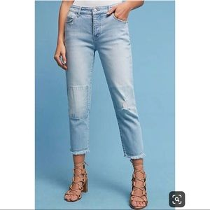 Anthro Pilcro hyphen patched boyfriend jeans